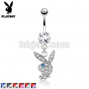 Two Tone Paved Gems on Playboy Bunny Dangle 316L Surgical Steel Navel Ring
