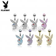 Multi Colored Gems on Playboy Bunny 316L Surgical Steel Navel Ring 80pcs pack