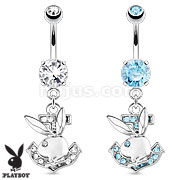 Playboy Bunny with Paved Gemmed Anchor Dangle 316L Surgical Steel Navel Ring