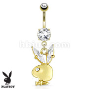 Playboy Bunny Gemmed Ear Dangle 14kt Gold Plated Navel Ring