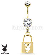 Lock with Playboy Bunny Die-Cut Dangle 14kt Gold Plated Navel Ring