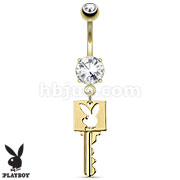 Key with Playboy Bunny Die-Cut Dangle 14kt Gold Plated Navel Ring