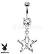 Playboy Bunny with Paved Gemmed Star Dangle 316L Surgical Steel Navel Ring