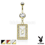 Playboy Bunny Square Frame with Paved Gems Dangle Gold Plated Navel Ring