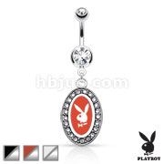 Playboy Bunny Round Frame with Paved Gems Dangle Navel Ring