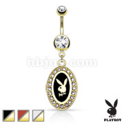 Playboy Bunny Round Frame with Paved Gems Dangle 14KT Gold Plated Navel Ring