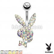 Crystal Paved Playboy Bunny 316L Surgical Steel Belly Button Navel Rings