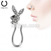 Clip On Non Piercing Nose Ring CZ Paved Playboy Bunny