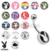 Playboy Bunny Print Inlayed 316L Surgical Steel Navel Ring