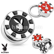 Playboy Bunny Poker Chip Epoxy 316L Surgical Steel Screw Fit Plug