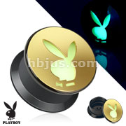 Playboy Bunny Carved Gold IP Acrylic Glow in the Dark Screw Fit Plug
