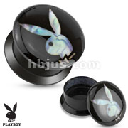Patterned Playboy Bunny Print Black Acrylic Flat Screw Fit Plug