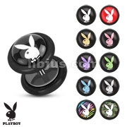 Playboy Bunny Logo Prints Inlay 16ga Black Acrylic Fake Plug with O-Rings