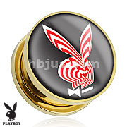 Playboy Bunny Logo with Red/White Strips Print Gold Plated Screw Fit Plug