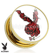 Rose Playboy Bunny Logo Print Gold Plated Screw Fit Plug