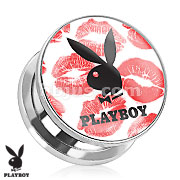 Playboy Bunny Logo on Kiss Mark Print Screw Fit Plug 316L Surgical Steel
