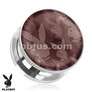 Repeated Playboy Bunny Logo Print Screw Fit Plug 316L Surgical Steel