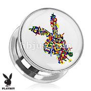 Playboy Bunny Logo Color Letters Print Screw Fit Plug 316L Surgical Steel