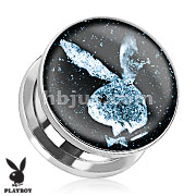 Playboy Bunny Logo in Space Print Screw Fit Plug 316L Stainless Steel