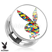 Playboy Bunny Logo Color Block Print Screw Fit Plug 316L Surgical Steel