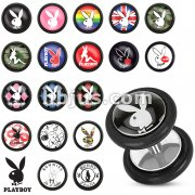 Clear Epoxy Dome Playboy Bunny Print Inlay 316L Surgical Steel Fake Plug with O-Rings