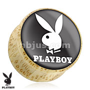 White Playboy Bunny Logo on Black Print Wood Saddle Plug