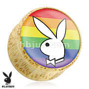 Playboy Bunny Logo on Rainbow Print Wood Saddle Plug