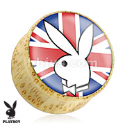 Playboy Bunny Logo on Union Jack Print Wood Saddle Plug
