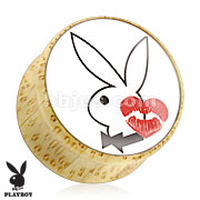 Playboy Bunny Logo with Kiss Mark Print Wood Saddle Plug