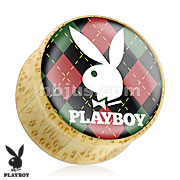 Playboy Bunny Logo on Red/Green Argyle Print Wood Saddle Plug