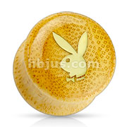 Top Gold Plated Playboy Logo on Organic Bamboo Wood Saddle FIT Plug