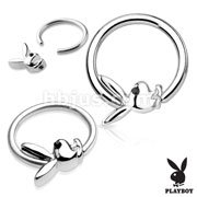 Black Gem Eye Playboy Bunny 316L Surgical Steel Captive Hoop Rings