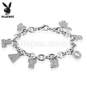 Playboy Clear Gems Stainless Steel Charm Bracelet