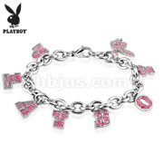 Playboy Charm Pink Gems Stainless Steel Bracelet