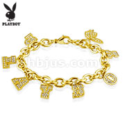 Playboy Gold Gems Stainless Steel Charm Bracelet