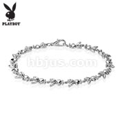 Playboy Bunny Gemmed 316L Stainless Steel Link Bracelet