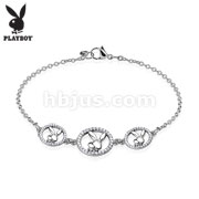 Three Round Multi Paved Gemmed Playboy Bunny Logo Stainless Steel Chain Bracelet