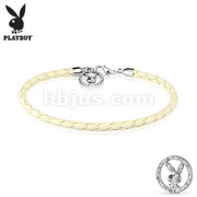 Multi Paved Gemmed Playboy Bunny Round Logo Braided Leather Bracelet