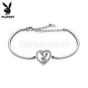 Multi Paved Gemmed Playboy Bunny Heart 316L Stainless Steel Cuff Bracelet