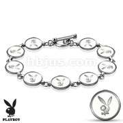 Gemmed Eye Playboy Bunny Round Logo Steel Bracelet