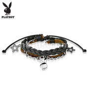 Playboy Bunny Charm Leather and Brass Bracelets