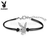 Playboy CZ Paved Bunny Charm Leather and Brass Bracelets