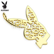 Playboy Logo XOXO Gold IP 316L Surgical Steel Bunny Pendant