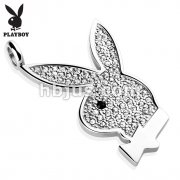 Gem Paved Playboy Bunny 316L Surgical Steel Pendant