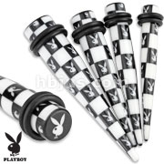 Printed Playboy Bunny Checkered Pattern Acrylic Taper with O-Rings
