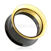 Black and Gold 316L Surgical Steel Screw Fit Double Flared Tunnel