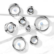 Floating Opal 316L Surgical Steel Double Flared Screw Fit Flesh Tunnel Plugs