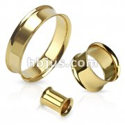 Double Flared Tunnel Plug Gold IP Over 316L Surgical Steel