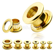 Gold IP over 316L Surgical Stainless Steel Screw Fit Tunnel
