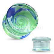 Blue and Green Whirlpool Pyrex Glass Double Flared Plugs